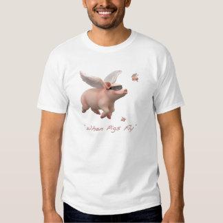 Cuando los cerdos vuelan la camiseta playeras