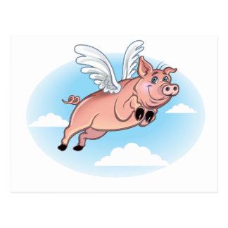 Cuando los cerdos vuelan, la diversión sucede tarjetas postales