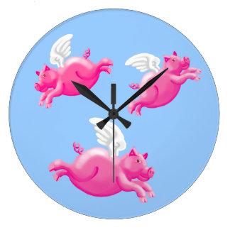 Cuando los cerdos vuelan reloj redondo grande