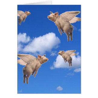 Cuando los cerdos vuelan tarjeta de felicitación