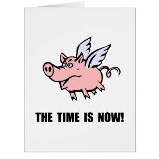 Cuando los cerdos vuelan tarjeta de felicitación grande