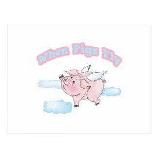 cuando los cerdos vuelan tarjetas postales