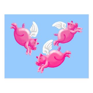 cuando los cerdos vuelan tarjeta postal