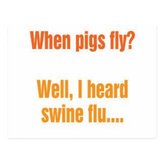 ¿Cuándo los cerdos vuelan? Tarjeta Postal
