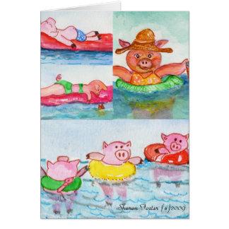 Cuando los cochinillos flotan - los cerdos de la tarjeta de felicitación