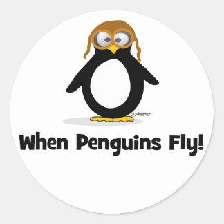 Cuando los pingüinos vuelan pegatina redonda