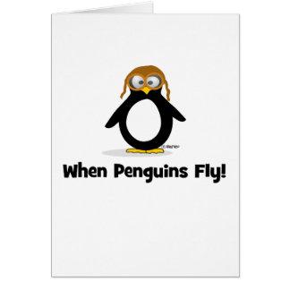 Cuando los pingüinos vuelan tarjeta de felicitación