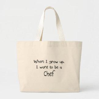 Cuando me crezco quiera ser un cocinero bolsa lienzo