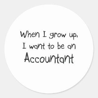 Cuando me crezco quiera ser un contable pegatina redonda
