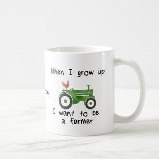 Cuando me crezco quiera ser un granjero taza básica blanca
