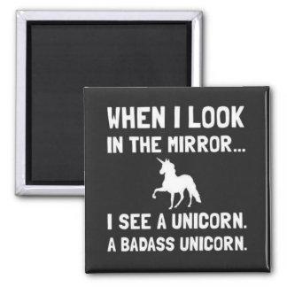 Cuando me miro en el espejo vea un unicornio imán cuadrado
