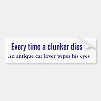 Cuando muere un clunker un amante del coche antigu pegatina de parachoque