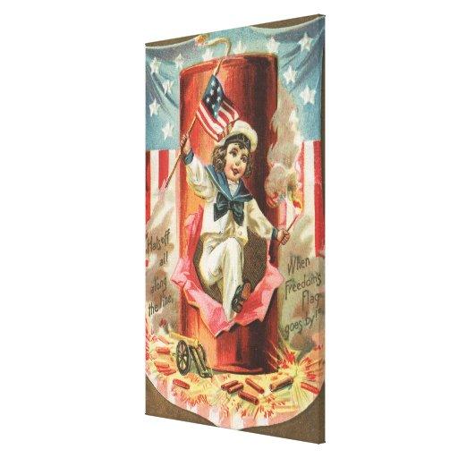 Cuando pasa la bandera de la libertad impresión en lona estirada