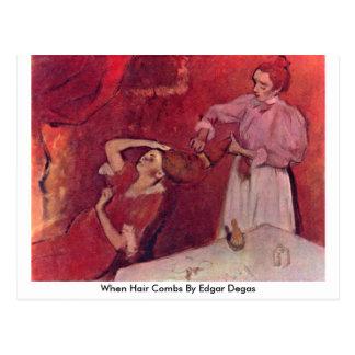 Cuando peines del pelo de Edgar Degas Tarjeta Postal