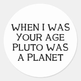 Cuando Plutón Pegatina Redonda