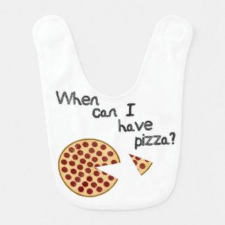 ¿Cuándo puedo tener pizza? Babero Para Bebé