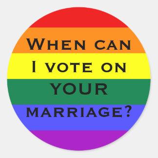 ¿Cuándo puedo votar sobre SU boda? Pegatina Redonda
