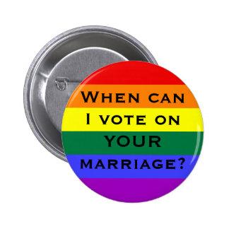 ¿Cuándo puedo votar sobre SU boda? Pin Redondo De 2 Pulgadas