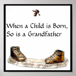 Cuando un niño nace, está tan un abuelo póster