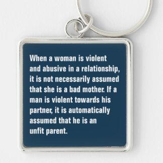Cuando una mujer es violenta y abusiva… llavero cuadrado plateado