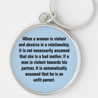 Cuando una mujer es violenta y abusiva… llavero redondo plateado