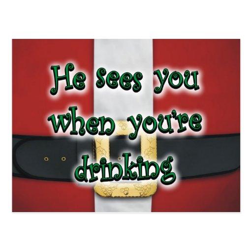 Cuando usted está bebiendo el juego de Santa Postal