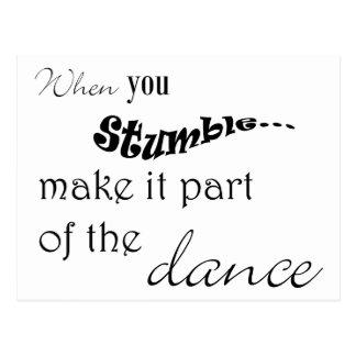 Cuando usted tropiezo le hace la parte de la danza tarjetas postales