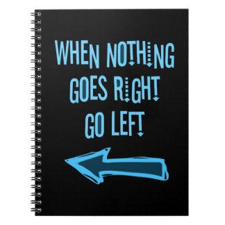 Cuando va nada a la derecha, vaya a la izquierda cuaderno