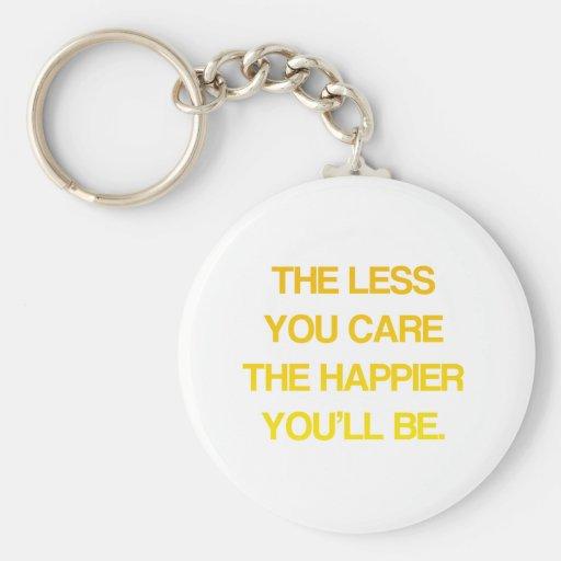Cuanto menos que usted cuida, más feliz usted será llavero redondo tipo pin