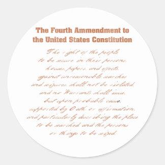 Cuarta enmienda a la constitución pegatinas redondas