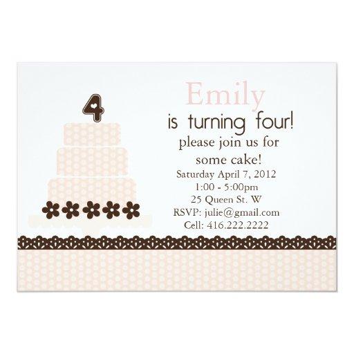 Cuarta invitación del cumpleaños invitación 12,7 x 17,8 cm