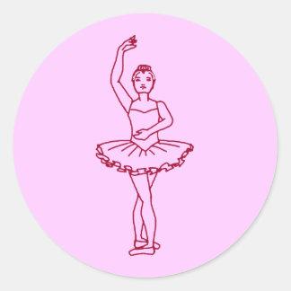 Cuarta posición del ballet pegatina redonda
