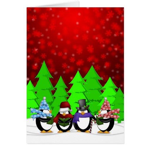 Cuarteto Caroling de los pingüinos en el poster de Tarjeta De Felicitación