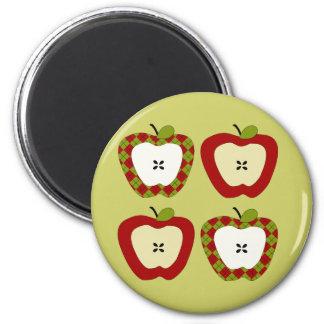 Cuarteto de Apple de la tela escocesa Imán Redondo 5 Cm