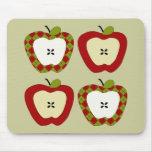 Cuarteto de Apple de la tela escocesa Alfombrilla De Ratón
