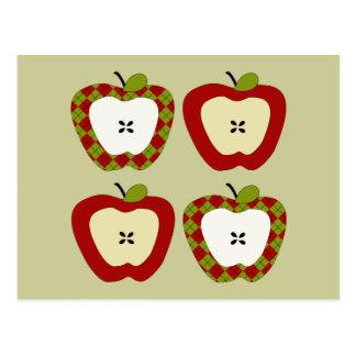Cuarteto de Apple de la tela escocesa Tarjeta Postal