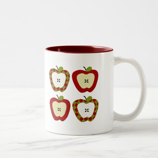 Cuarteto de Apple de la tela escocesa Taza De Dos Tonos