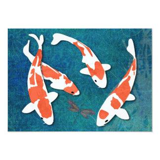 "Cuarteto de Kohaku anaranjado y blanco Koi Invitación 5"" X 7"""
