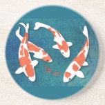 Cuarteto de Kohaku anaranjado y blanco Koi Posavasos Personalizados