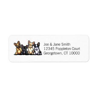 Cuarteto del dogo francés personalizado etiqueta de remitente