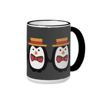Cuarteto del pingüino taza de dos colores