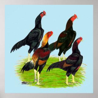 Cuarteto oriental de las aves de juego póster