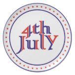 Cuarto 4to del diseño azul rojo del texto de julio platos