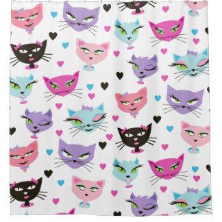 cuarto de baño atractivo del gato del gatito retro cortina de baño