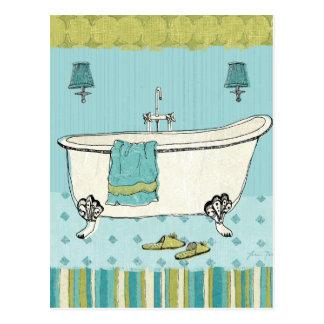 Cuarto de baño azul pasado de moda tarjetas postales