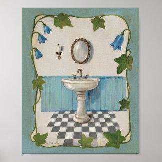 Cuarto de baño con la frontera floral póster