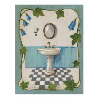 Cuarto de baño con la frontera floral postales