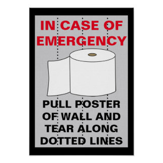 Cuarto de baño divertido del papel higiénico póster