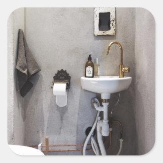 Cuarto de baño enrrollado pegatina cuadrada