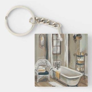 Cuarto de baño francés con la bañera llavero cuadrado acrílico a doble cara